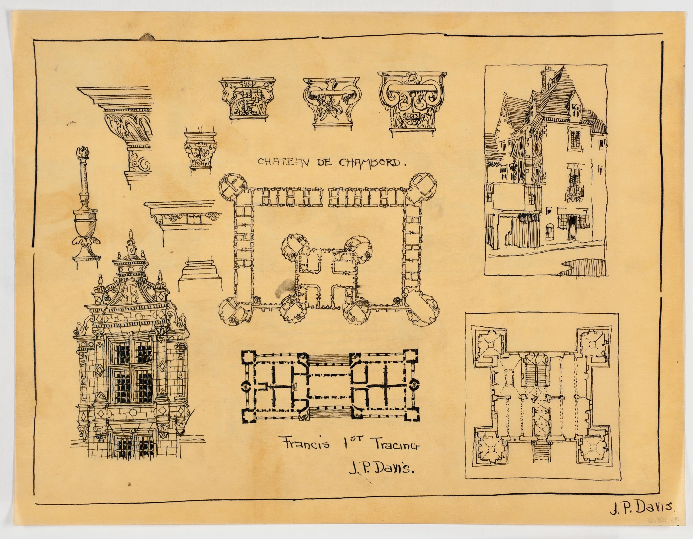 Chateau de Chambord, France; [detail drawings, exterior ...