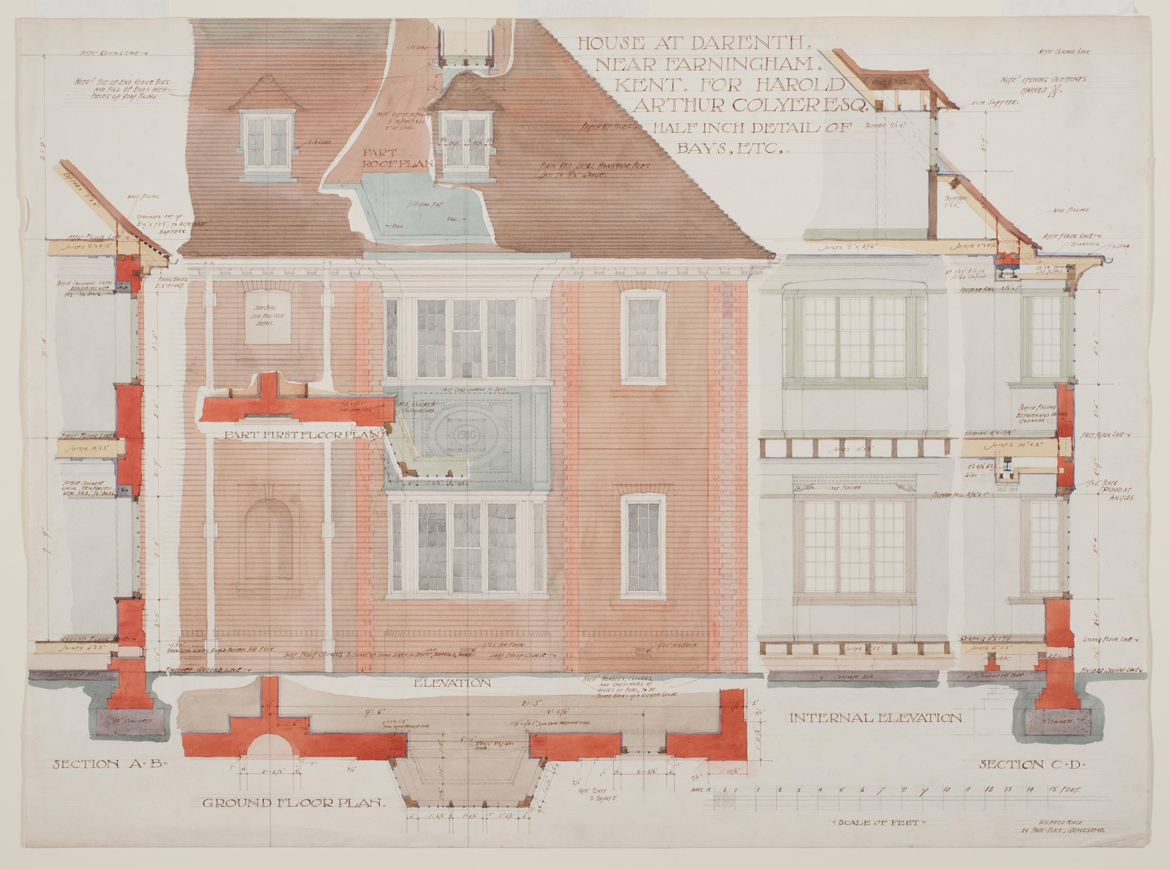 House for Harold Arthur Colyer, Darenth, England; [detail ...
